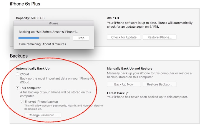 how to set back up in itunes